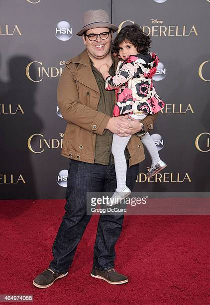 Actor Josh Gad and daughter arrive at the World Premiere of Disney's 'Cinderella' at the El Capitan Theatre on March 1 2015 in Hollywood California