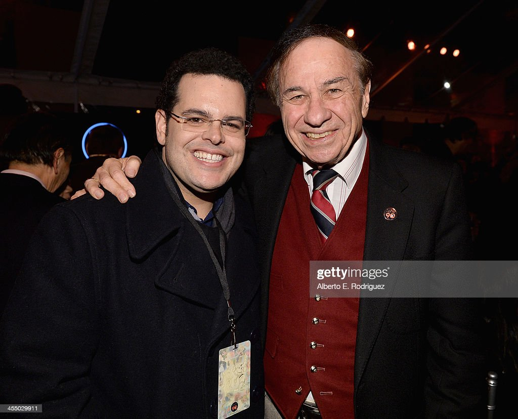 Actor <a gi-track='captionPersonalityLinkClicked' href=/galleries/search?phrase=Josh+Gad&family=editorial&specificpeople=4196023 ng-click='$event.stopPropagation()'>Josh Gad</a> (L) and songwriter Richard Sherman attend the 90 Years of Disney Animation celebration at Walt Disney Studios on December 10, 2013 in Burbank, California.