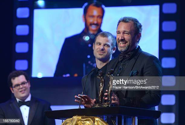 Actor Josh Gad presents honorees Matt Stone and Trey Parker with The Charlie Chaplin Britannia Award for Excellence in Comedy onstage at the 2012...