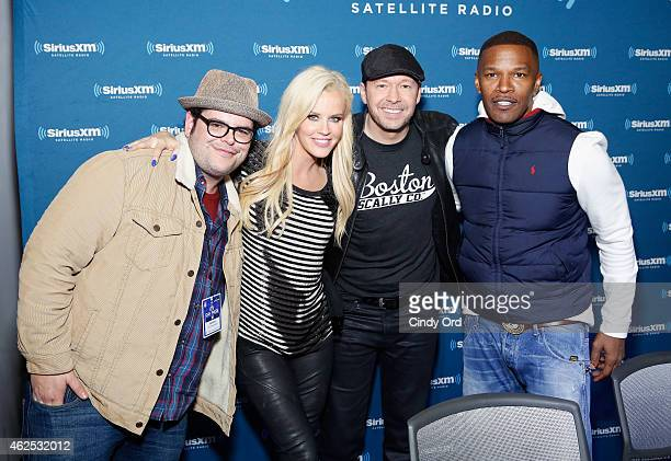 Actor Josh Gad TV personality Jenny McCarthy singer/actor Donnie Wahlberg and actor/recording artist Jamie Foxx attend SiriusXM at Super Bowl XLIX...