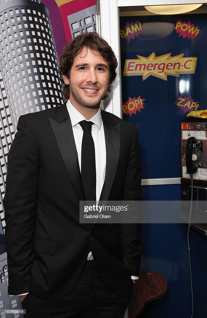 Actor <a gi-track='captionPersonalityLinkClicked' href=/galleries/search?phrase=Josh+Groban&family=editorial&specificpeople=202917 ng-click='$event.stopPropagation()'>Josh Groban</a> with Emergen-C in the Presenters Gift Lounge Backstage in celebration of the 64th Primetime Emmy Awards produced by On 3 Productions at Nokia Theatre L.A. Live on September 23, 2012 in Los Angeles, California.