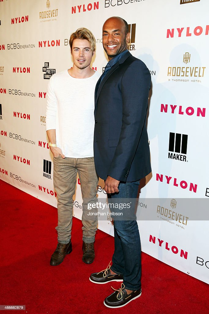 Actor <a gi-track='captionPersonalityLinkClicked' href=/galleries/search?phrase=Josh+Henderson+-+Actor&family=editorial&specificpeople=635918 ng-click='$event.stopPropagation()'>Josh Henderson</a> (L) and associate publisher of Nylon Magazine Karim Abay attend the Nylon + BCBGeneration May Young Hollywood Party at Hollywood Roosevelt Hotel on May 8, 2014 in Hollywood, California.