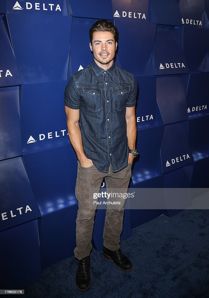 Actor <a gi-track='captionPersonalityLinkClicked' href=/galleries/search?phrase=Josh+Henderson+-+Actor&family=editorial&specificpeople=635918 ng-click='$event.stopPropagation()'>Josh Henderson</a> attends the Delta Air Lines summer celebration In Beverly Hills on August 15, 2013 in Beverly Hills, California.