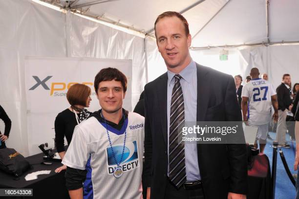 Actor Josh Hutcherson and Peyton Manning attend GBK and DirecTV Celebrity Beach Bowl Thank You Lounge at DTV SuperFan Stadium at Mardi Gras World on...