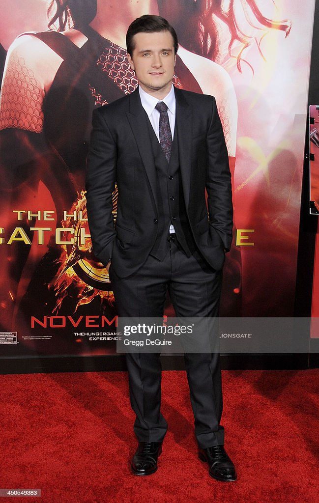 Actor <a gi-track='captionPersonalityLinkClicked' href=/galleries/search?phrase=Josh+Hutcherson&family=editorial&specificpeople=673588 ng-click='$event.stopPropagation()'>Josh Hutcherson</a> arrives at the Los Angeles premiere of 'The Hunger Games: Catching Fire' at Nokia Theatre L.A. Live on November 18, 2013 in Los Angeles, California.
