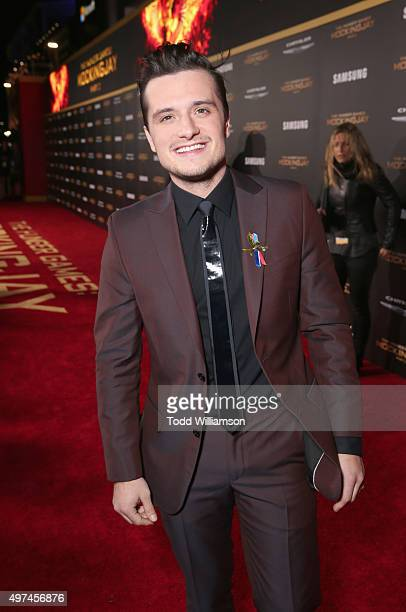 Actor Josh Hutcherson attends premiere of Lionsgate's 'The Hunger Games Mockingjay Part 2' at Microsoft Theater on November 16 2015 in Los Angeles...