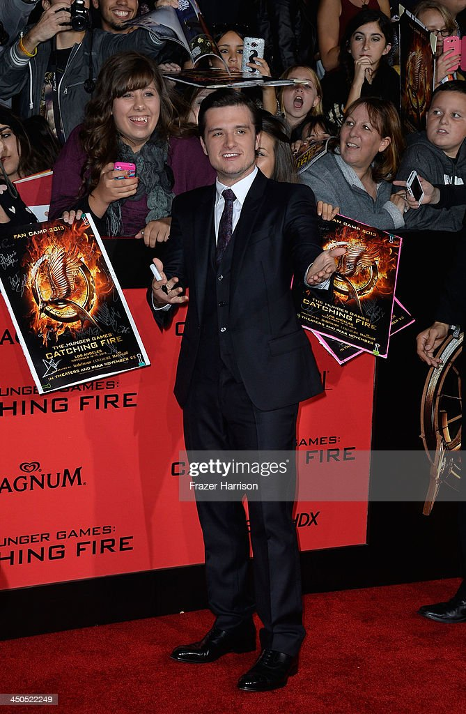 Actor <a gi-track='captionPersonalityLinkClicked' href=/galleries/search?phrase=Josh+Hutcherson&family=editorial&specificpeople=673588 ng-click='$event.stopPropagation()'>Josh Hutcherson</a> attends the premiere of Lionsgate's 'The Hunger Games: Cathching Fire' at Nokia Theatre L.A. Live on November 18, 2013 in Los Angeles, California.