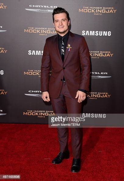 Actor Josh Hutcherson attends the premiere of Lionsgate's 'The Hunger Games Mockingjay Part 2' at Microsoft Theater on November 16 2015 in Los...