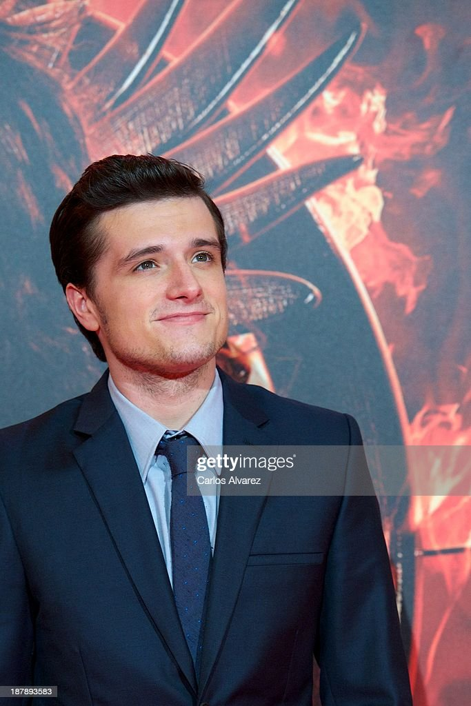 Actor <a gi-track='captionPersonalityLinkClicked' href=/galleries/search?phrase=Josh+Hutcherson&family=editorial&specificpeople=673588 ng-click='$event.stopPropagation()'>Josh Hutcherson</a> attends the Spanish premiere of the film 'The Hunger Games - Catching Fire' (Los Juegos Del Hambre: En Llamas) at the Callao cinema on November 13, 2013 in Madrid, Spain.