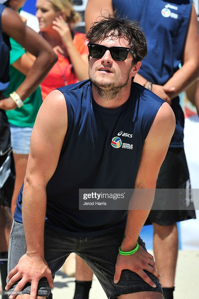 Actor Josh Hutcherson participates in the ASICS World Series of Volleyball Celebrity Charity Match on August 23 2015 in Long Beach California