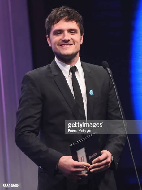 Actor Josh Hutcherson speaks onstage during the 28th Annual GLAAD Media Awards in LA at The Beverly Hilton Hotel on April 1 2017 in Beverly Hills...