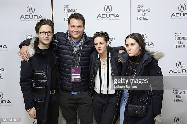 Actor Josh Kaye executive producer Michael Pruss director Kristen Stewart and actress Sydney Lopez of 'Come Swim' attend the Acura Studio during...