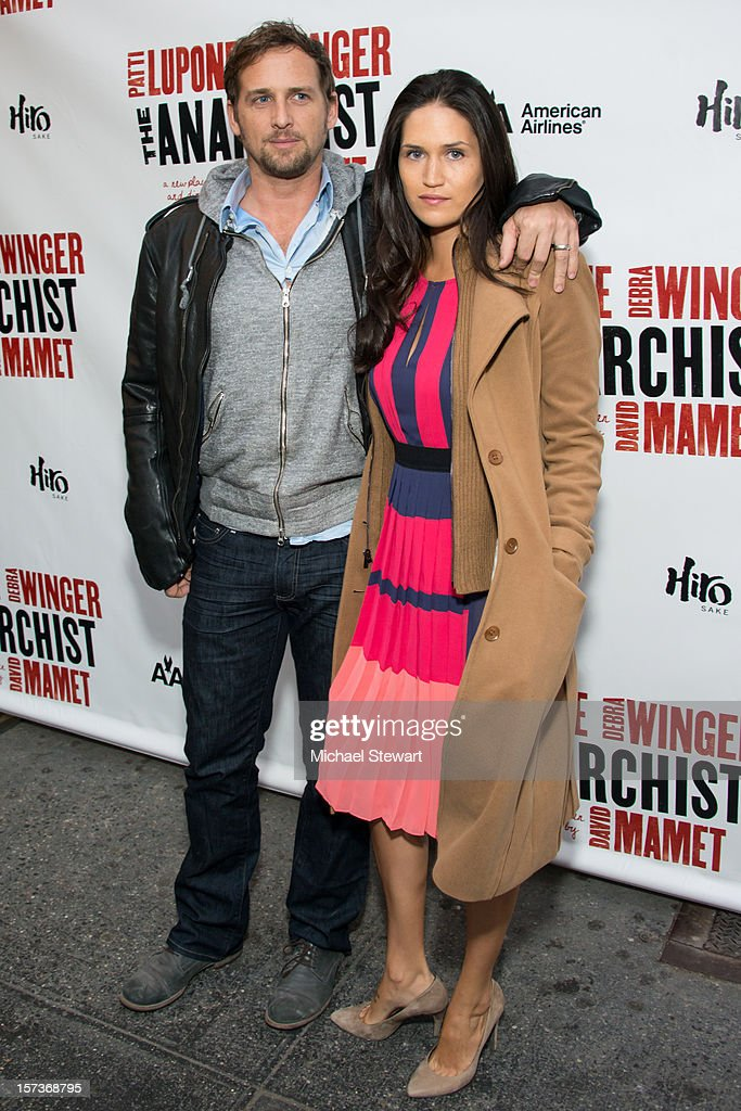 Actor <a gi-track='captionPersonalityLinkClicked' href=/galleries/search?phrase=Josh+Lucas&family=editorial&specificpeople=216514 ng-click='$event.stopPropagation()'>Josh Lucas</a> (L) and Jessica Ciencin Henriquez attend 'The Anarchist' Broadway Opening Night at John Golden Theatre on December 2, 2012 in New York City.
