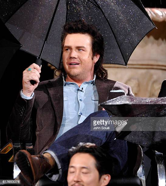 Actor Josh McDermitt speaks onstage during AMC presents 'Talking Dead Live' for the premiere of 'The Walking Dead' at Hollywood Forever on October 23...