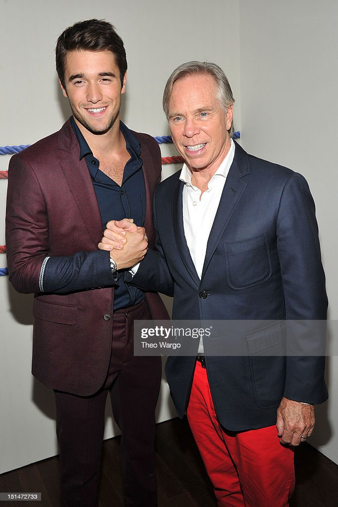 Actor <a gi-track='captionPersonalityLinkClicked' href=/galleries/search?phrase=Joshua+Bowman+-+Actor&family=editorial&specificpeople=7721637 ng-click='$event.stopPropagation()'>Joshua Bowman</a> and designer Tommy Hilfiger pose backstage at the Tommy Hilfiger Men's Spring 2013 fashion show during Mercedes-Benz Fashion Week at Maritime Hotel on September 7, 2012 in New York City.