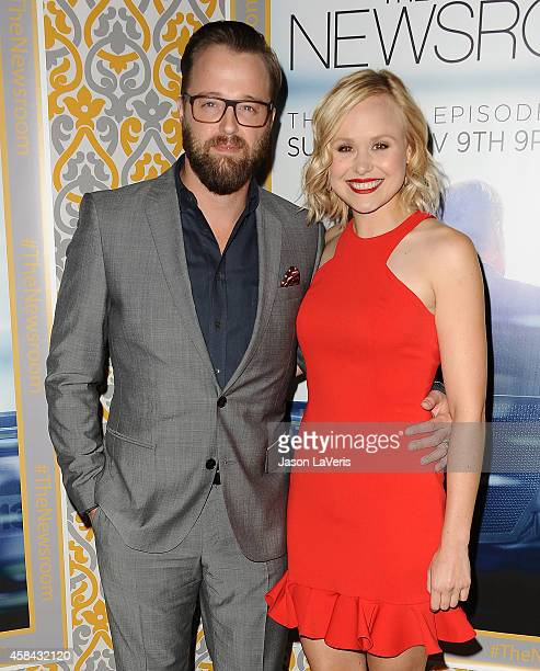 Actor Joshua Leonard and actress Alison Pill attend the premiere of 'The Newsroom' at DGA Theater on November 4 2014 in Los Angeles California