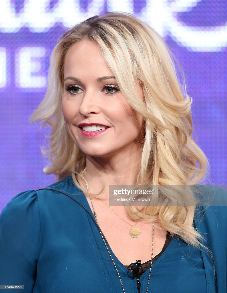 Actor <a gi-track='captionPersonalityLinkClicked' href=/galleries/search?phrase=Josie+Bissett&family=editorial&specificpeople=1503025 ng-click='$event.stopPropagation()'>Josie Bissett</a> speaks onstage during the Christmas With Tucker panel at the Hallmark Channel and Hallmark Movie Channel portion of the 2013 Summer Television Critics Association tour at the Beverly Hilton Hotel on July 24, 2013 in Beverly Hills, California.