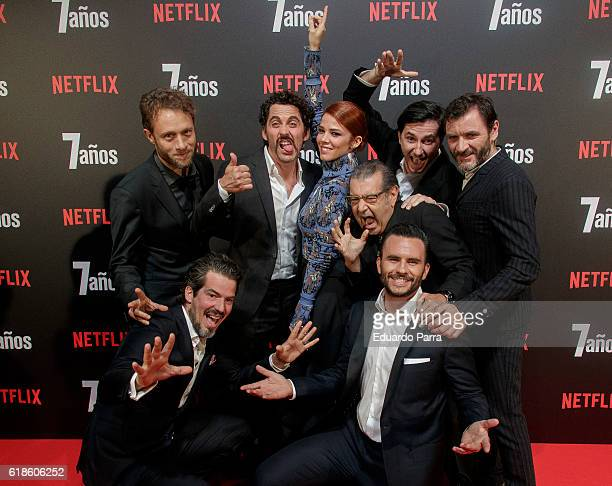 Actor Juan Pablo Raba actor Manuel Moron actor Alex Brendemühl actress Juana Acosta director Roger Gual and actor Paco Leon attend the '7 anos'...
