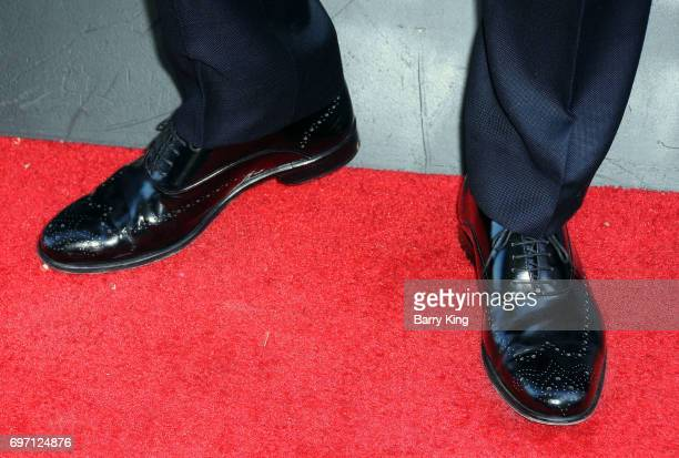 Actor Juan Pablo Raba shoe detail attends the 2017 Los Angeles Film Festival Gala Screening Of 'Shot Caller' at Arclight Cinemas Culver City on June...