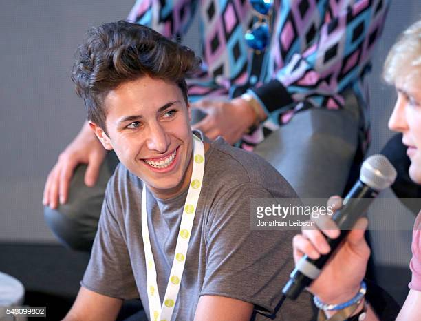 Actor Juanpa Zurita speaks onstage during 'Airplane Mode' at the Samsung Creator's Lounge At VidCon 2016 on June 23 2016 in Anaheim California