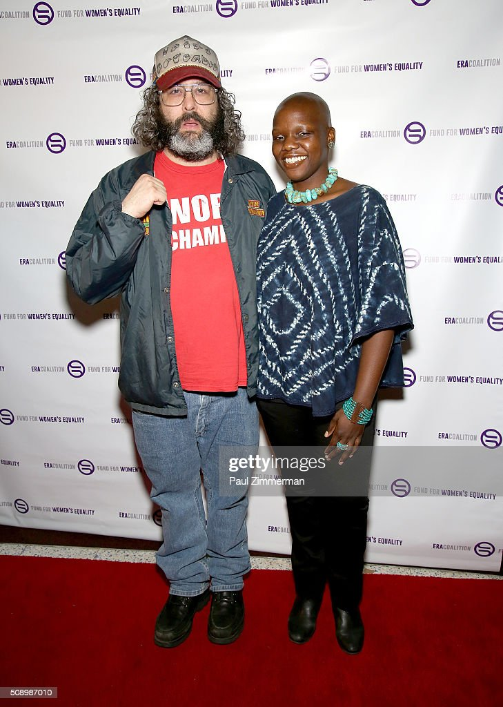 Actor <a gi-track='captionPersonalityLinkClicked' href=/galleries/search?phrase=Judah+Friedlander&family=editorial&specificpeople=666026 ng-click='$event.stopPropagation()'>Judah Friedlander</a> (L) and Agunda Okeyo attend A Night Of Comedy with Jane Fonda presented by the Fund For Women's Equality & ERA Coalition Carolines On Broadway on February 7, 2016 in New York City.