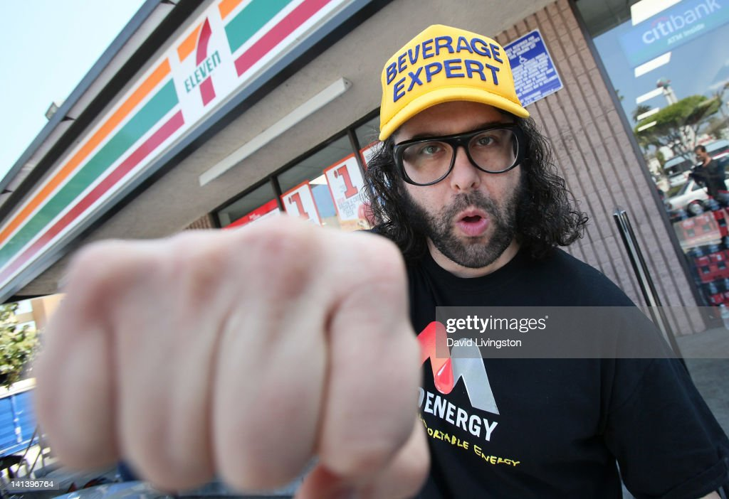 Actor Judah Friedlander appears at 7Eleven to promote MiO Energy liquid water enhancer on March 15 2012 in Los Angeles California