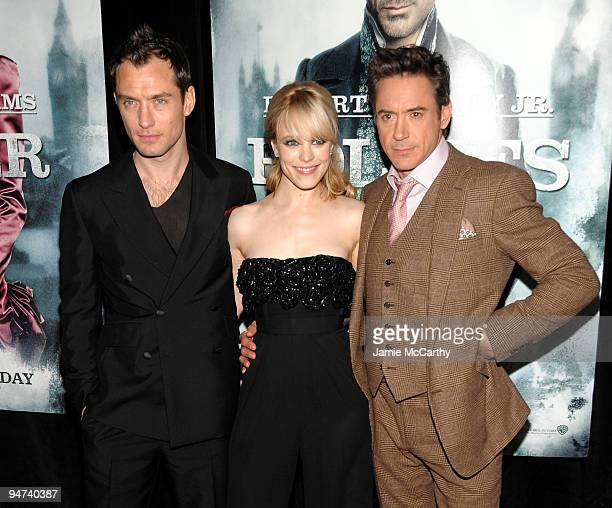 Actor Jude Law Actress Rachel McAdams and actor Robert Downey Jr attend the New York premiere of 'Sherlock Holmes' at the Alice Tully Hall Lincoln...