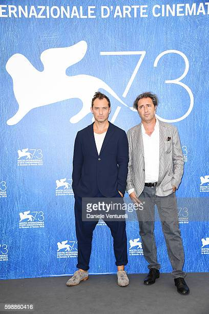 Actor Jude Law and director Paolo Sorrentino attend the photocall of 'The Young Pope' during the 73rd Venice Film Festival at on September 3 2016 in...