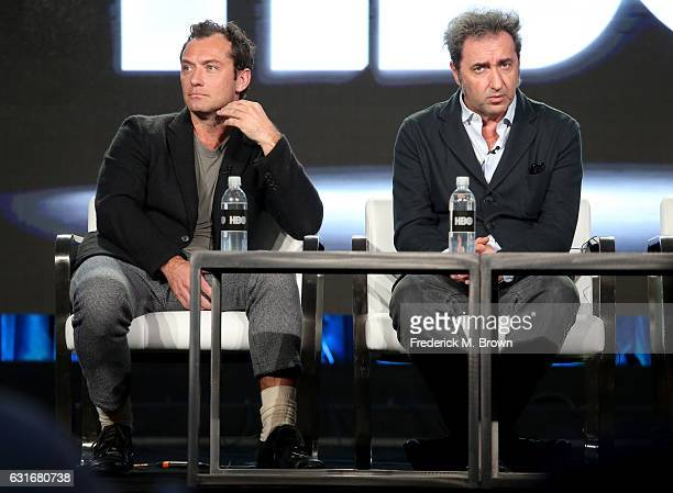 Actor Jude Law and director Paolo Sorrentino of the series 'The Young Pope' speak onstage during the HBO portion of the 2017 Winter Television...