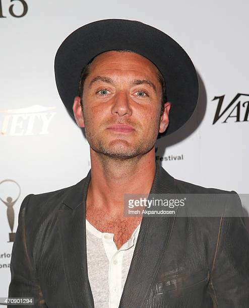 Actor Jude Law attends the 50th anniversary celebration of the Karlovy Vary International Film Festival at Soho House on April 23 2015 in West...