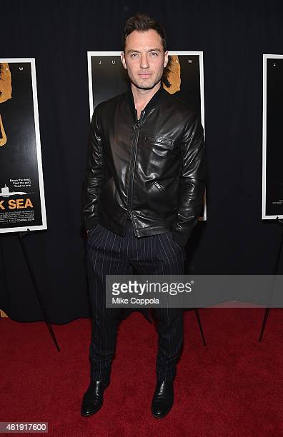 Actor Jude Law attends the 'Black Sea' New York screening at Landmark Sunshine Cinema on January 21 2015 in New York City