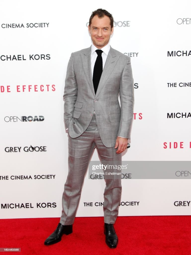 Actor Jude Law attends the Open Road, The Cinema Society & Michael Kors premiere of 'Side Effects' at AMC Loews Lincoln Square on January 31, 2013 in New York City.