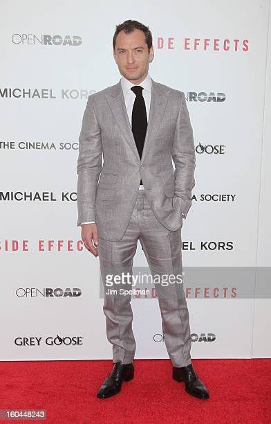 Actor Jude Law attends the Open Road With The Cinema Society And Michael Kors Host The Premiere Of 'Side Effects' at AMC Lincoln Square Theater on...