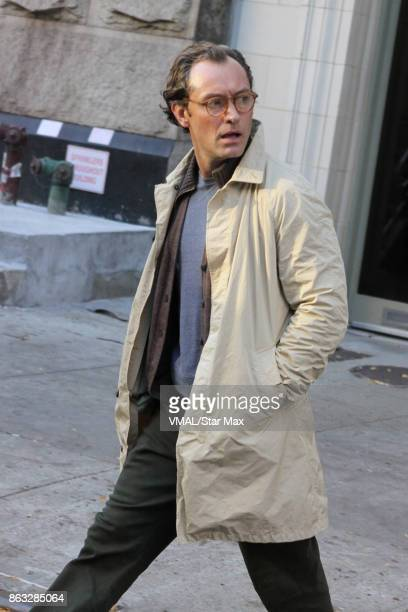 Actor Jude Law is seen on October 19 2017 on the set of Woody Allen's untitle film in New York City
