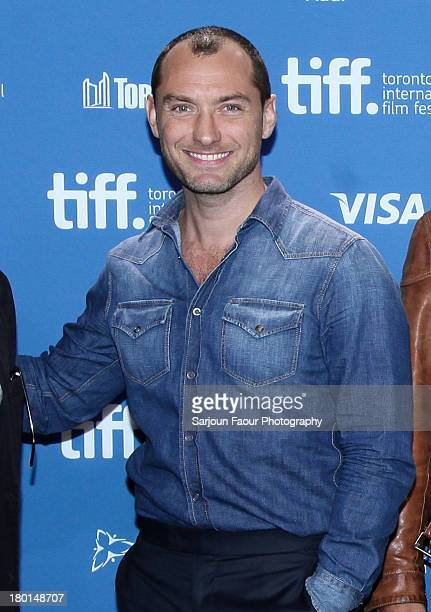 Actor Jude Law poses at the 'Dom Hemingway' Press Conference during the 2013 Toronto International Film Festival at TIFF Bell Lightbox on September 9...