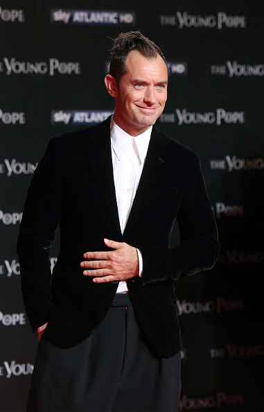Actor Jude Law walks the red carpet at 'The Young Pope' premiere on October 9 2016 in Rome Italy