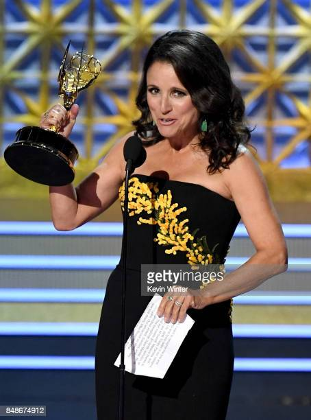 Actor Julia LouisDreyfus accepts Outstanding Lead Actress in a Comedy Series for 'Veep' onstage during the 69th Annual Primetime Emmy Awards at...