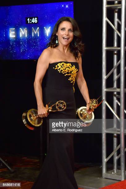 Actor Julia LouisDreyfus winner of the award for Outstanding Comedy Actress for 'Veep' poses in the press room during the 69th Annual Primetime Emmy...