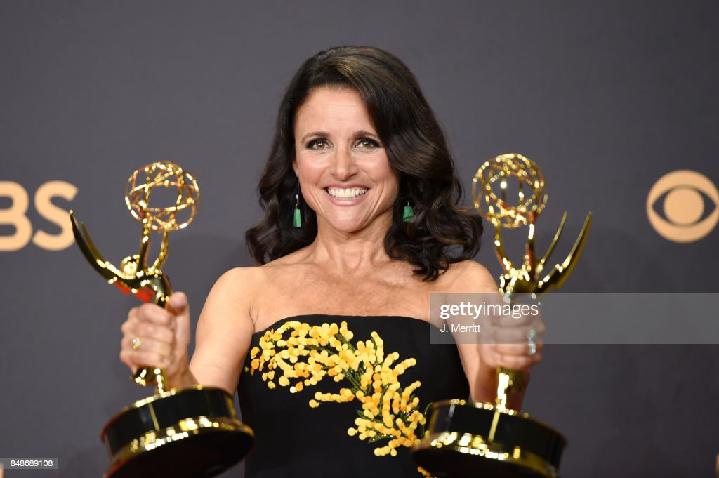 Actor Julia Louis-Dreyfus, winner of the award for Outstanding Comedy Actress for 'Veep,' poses in the press room during the 69th Annual Primetime Emmy Awards at Microsoft Theater on September 17, 2017 in Los Angeles, California.