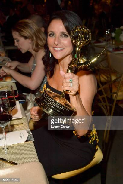 Actor Julia LouisDreyfus winner of the awards for Outstanding Comedy Series and Outstanding Lead Actress in a Comedy Series for 'Veep' attends the...