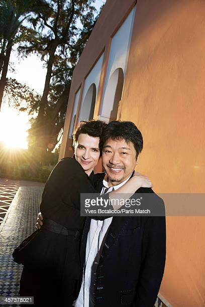 Actor Juliette Binoche and film director Hirokazu KoreEda are photographed for Paris Match on November 29 2013 in Marrakech Morocco