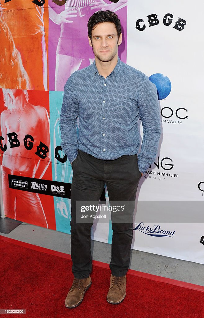Actor <a gi-track='captionPersonalityLinkClicked' href=/galleries/search?phrase=Justin+Bartha&family=editorial&specificpeople=653334 ng-click='$event.stopPropagation()'>Justin Bartha</a> arrives at the Los Angeles Premiere 'CBGB' at ArcLight Cinemas on October 1, 2013 in Hollywood, California.