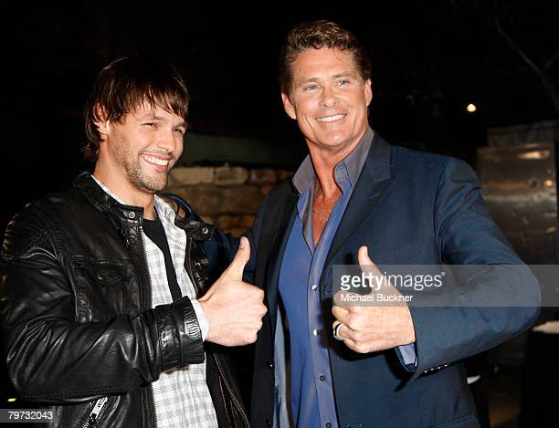 Actor Justin Bruening and actor David Hasselhoff attend the premiere of NBC's 'Knight Rider' at the Playboy Mansion February 12 2008 in Los Angeles...
