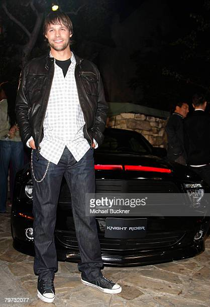 Actor Justin Bruening attends the premiere of NBC's 'Knight Rider' at the Playboy Mansion February 12 2008 in Los Angeles California