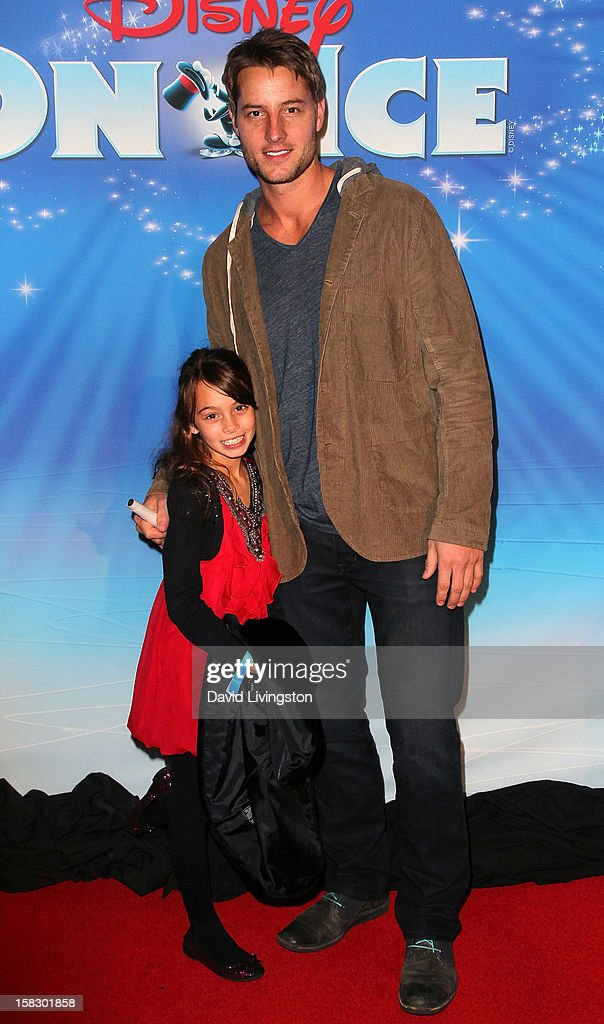 Actor Justin Hartley and daughter Isabella Justice Hartley attend the opening night of Disney On Ice's 'Dare To Dream' at LA Kings Holiday Ice at L.A. LIVE on December 12, 2012 in Los Angeles, California.