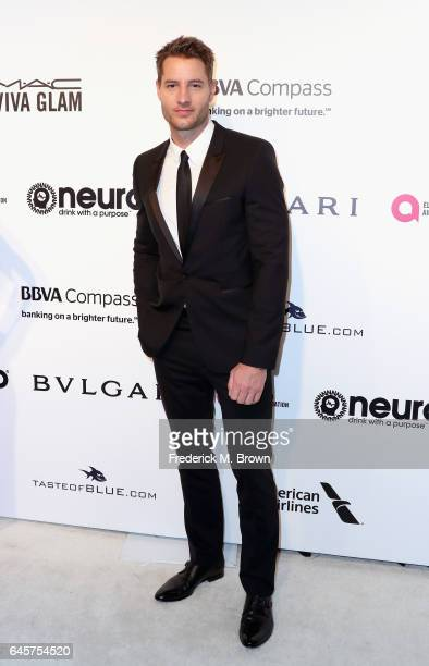 Actor Justin Hartley attends the 25th Annual Elton John AIDS Foundation's Academy Awards Viewing Party at The City of West Hollywood Park on February...