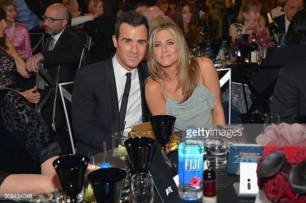 Actor Justin Theroux and actress Jennifer Aniston at the 21st Annual Critics' Choice Awards presented by FIJI Water at Barker Hangar on January 17...