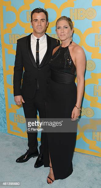 Actor Justin Theroux and actress Jennifer Aniston attend HBO's post Golden Globe Awards party at The Beverly Hilton Hotel on January 11 2015 in...