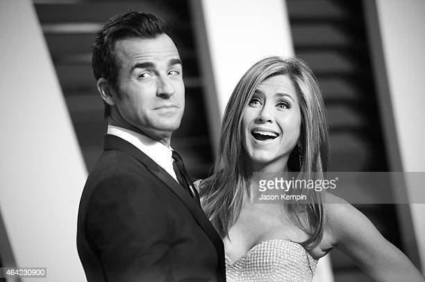 Actor Justin Theroux and actress Jennifer Aniston attend the 2015 Vanity Fair Oscar Party at Wallis Annenberg Center for the Performing Arts on...