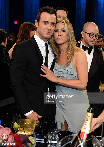 Actor Justin Theroux and actress Jennifer Aniston attend the 21st Annual Critics' Choice Awards at Barker Hangar on January 17 2016 in Santa Monica...